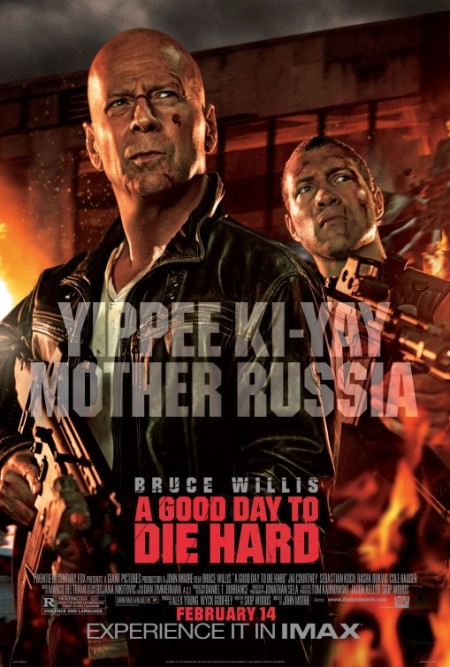 Here's something I don't get: Why has the 'Yippie-ki-yay' thing become McClane's catchphrase? I mean, I know audiences dig it...but it never struck me as an all-purpose zinger for our boy to deploy at any moment. It seemed relevant as a comeback to Hans Gruber. But elsewhere? Hmmm...